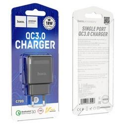 Адаптер питания Hoco C72Q Glorious single port PD+QC 3.0 charger (USB: 5V max 3.0A/18Вт) Черный