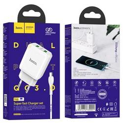 Адаптер питания Hoco N6 Charmer dual port QC3.0 charger с кабелем Type-C (2USB: 5V max 3.0A) 18W Белый