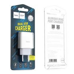 Адаптер питания Hoco C73A Glorious Dual port charger (2USB: 5V max 2.4A) Белый