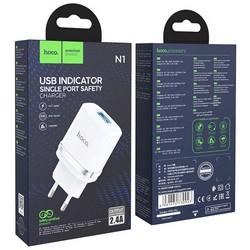 Адаптер питания Hoco N1 Ardent single port charger Apple&Android (USB: 5V max 2.4A) Белый