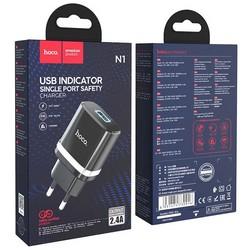 Адаптер питания Hoco N1 Ardent single port charger Apple&Android (USB: 5V max 2.4A) Черный