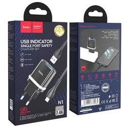 Адаптер питания Hoco N1 Ardent single port charger с кабелем Lightning (USB: 5V max 2.4A) Черный
