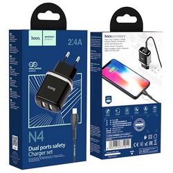 Адаптер питания Hoco N4 Aspiring dual port charger с кабелем Lightning (2USB: 5V max 2.4A) Черный