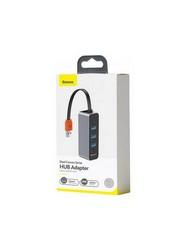 Переходник Baseus Steel Cannon Series USB-A to USB3.0х3/ RJ45 HUB Adapter (CAHUB-AH0G) Графитовый
