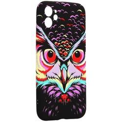"""Чехол-накладка силикон Luxo для iPhone 11 (6.1"""") 0.8мм с флуоресцентным рисунком Сова Фиолетовая"""
