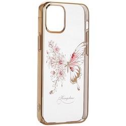 """Чехол-накладка KINGXBAR для iPhone 12 mini (5.4"""") пластик со стразами Swarovski золотой (Бабочка)"""
