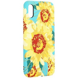 """Чехол-накладка силикон Luxo для iPhone XS/ X (5.8"""") 0.8мм с флуоресцентным рисунком Цветы вид 2"""