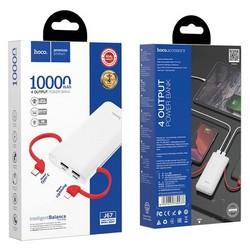 Аккумулятор внешний универсальный Hoco J67 10000 mAh Rill mobile power bank с кабелем Type-C, Lightning (2USB:5V-2.0A Max) Белый