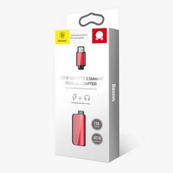 Аудио-переходник Baseus L32 IP Male to 3.5 mm and Lightning Female Adapter (с разъемом для зарядки) Красный