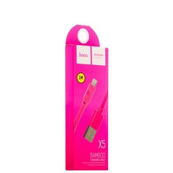 USB дата-кабель Hoco X5 Bamboo Lightning (1.0 м) Розовый