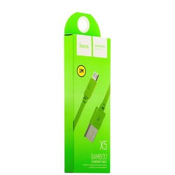 USB дата-кабель Hoco X5 Bamboo MicroUSB (1.0 м) Зеленый
