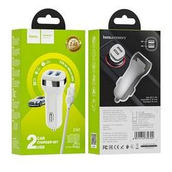 Разделитель автомобильный Hoco Z40 Superior dual port car charger с кабелем MicroUSB (2USB: 5V & 2.4A) Белый