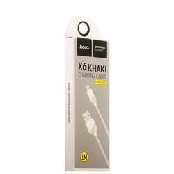 USB дата-кабель Hoco X6 Khaki Lightning (1.0 м) Белый