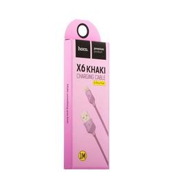 USB дата-кабель Hoco X6 Khaki Lightning (1.0 м) Фиолетовый