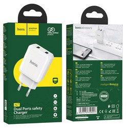 Адаптер питания Hoco N7 Speedy dual port charger Apple&Android (2USB: 5V max 2.1A) Белый