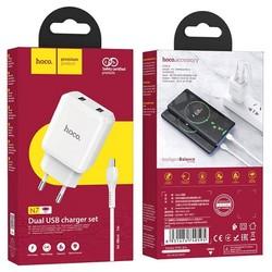 Адаптер питания Hoco N7 Speedy dual port charger с кабелем MicroUSB (2USB: 5V max 2.1A) Белый