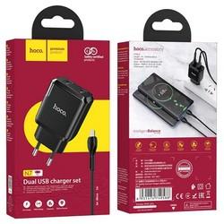 Адаптер питания Hoco N7 Speedy dual port charger с кабелем MicroUSB (2USB: 5V max 2.1A) Черный