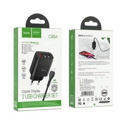 Адаптер питания Hoco C86A lllustrious charger с кабелем Lightning (2USB: 5V max 2.4A) с дисплеем Черный