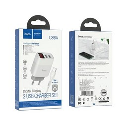 Адаптер питания Hoco C86A lllustrious charger с кабелем Type-C (2USB: 5V max 2.4A) с дисплеем Белый