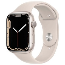 Apple Watch Series 7 GPS 45mm Starlight Aluminum Case with Starlight Sport Band (сияющая звезда)