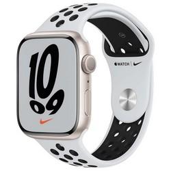 Apple Watch Nike Series 7 GPS 45mm Starlight Aluminium Case with Pure Platinum/Black Nike Sport Band (чистая платина/чёрный)
