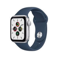 Apple Watch SE GPS 40mm Silver Aluminum Case with Abyss Blue Sport Band (синий омут) MKNY3RU