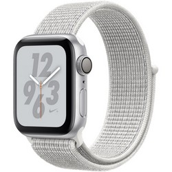 Apple Watch Series 4 40mm Nike+ GPS Silver Aluminum Case with Summit White Nike Sport Loop MU7F2