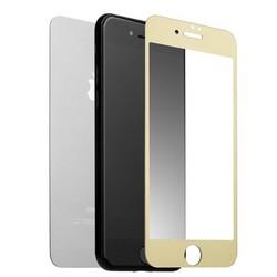 """Стекло защитное для iPhone 8 Plus/ 7 Plus (5.5"""") Gold 2в1 (зеркальное-глянцевое, 2 стороны) Золотистое"""
