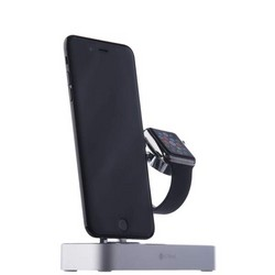 Док-станция&USB-концентратор COTEetCI Base (B18)MFI для Apple Watch & iPhone X/ 8 Plus/ 8/ SE 2in1 stand (CS7200-TS) Серебро