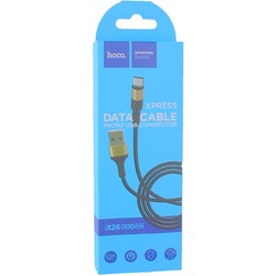 USB дата-кабель Hoco X26 Xpress charging data cable MicroUSB (1.0 м) Black & Gold