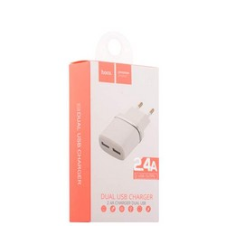 Адаптер питания Hoco C12 Smart dual USB charger Apple&Android (2USB: 5V max 2.4A) Белый
