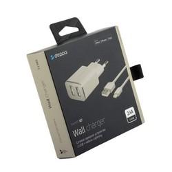Адаптер питания Deppa Ultra MFI 2.4A D-11383, дата-кабель 8-pin Lightning 1.2m (2USB: 5V 2.4A) Белый