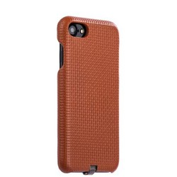 Накладка кожаная i-Carer для iPhone 8/ 7 (4.7) Woven Pattern Series Real Leather Charging Connector (RIP711br) Коричневая