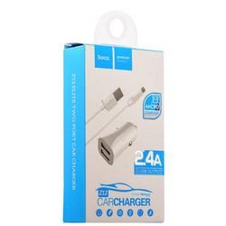 Разделитель автомобильный Hoco Z12 Elite Dual USB Car Charger Set MicroUSB (2USB: 5V & 2.4A) Белый