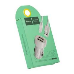 Разделитель автомобильный Hoco Z2A Dual USB Car Charger Set MicroUSB (2USB: 5V & 2.4A) Белый