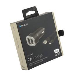 Разделитель автомобильный Deppa Car charger 2.4A D-11284, кабель USB Type-C 1.2m 12/24V (2USB: 5V/2.4A) Черный