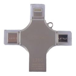 Флеш-накопитель COTEetCI 4in1 Zinc Alloy (CS5129-128G) Lightning/ MicroUSB/ Type-C/ USB 2.0 Серебристый