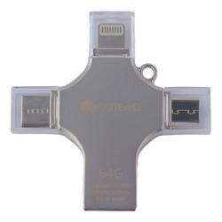 Флеш-накопитель COTEetCI 4in1 Zinc Alloy (CS5129-64G) Lightning/ MicroUSB/ Type-C/ USB 2.0 Серебристый