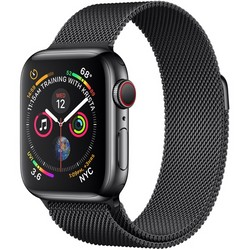 Apple Watch Series 4 GPS + Cell 40mm Space Black Stainless Steel Case with Space Black Milanese Loop MTUQ2LL/A
