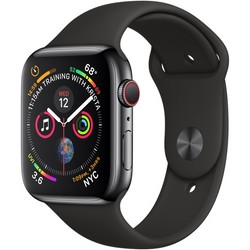 Apple Watch Series 4 GPS + Cell 44mm Space Black Stainless Steel Case with Black Sport Band MTV52LL/A