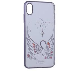"Чехол-накладка KINGXBAR для iPhone XS Max (6.5"") пластик со стразами Swarovski 49F Лебединая Любовь черный"