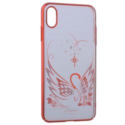 "Чехол-накладка KINGXBAR для iPhone XS Max (6.5"") пластик со стразами Swarovski 49F Лебединая Любовь красный"