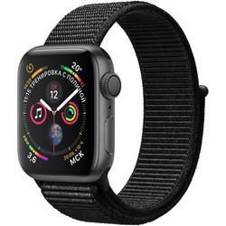 Apple Watch Series 4 GPS 40mm Space Gray Aluminum Case with Black Sport Loop (Спортивный браслет чёрного цвета) MU672