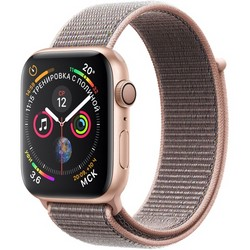 Apple Watch Series 4 GPS, 44 mm Gold Aluminum Case with Pink Sand Sport Loop MU6G2