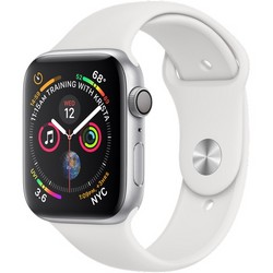 Apple Watch Series 4 GPS, 44mm Silver Aluminum Case with White Sport Band (Серебристый/Белый) MU6A2