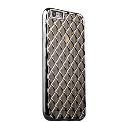 Чехол силиконовый объемный для iPhone 6s/ 6 прозрачо-черный с темно серыми полосками