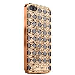 """Чехол силиконовый """"Leonardo da Vinci"""" объемный для iPhone SE/ 5s/ 5 со стразами Золотистый"""