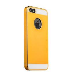 Накладка металлическая iBacks Aluminum & PP Pro case для iPhone SE/ 5S/ 5 - Essence II (ip50174) Gold with white glass