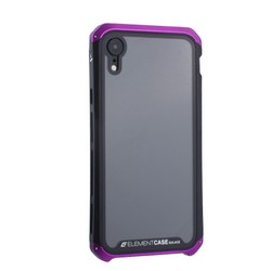 "Чехол-накладка Element Case (AL&Glass) для Apple iPhone XR (6.1"") G-Solace фиолетово-черный ободок"