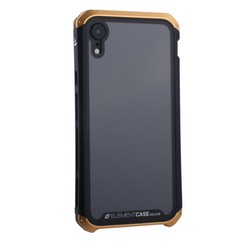"Чехол-накладка Element Case (AL&Glass) для Apple iPhone XR (6.1"") G-Solace золотисто-черный ободок"